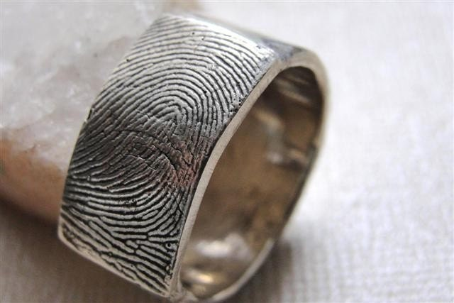 Fingerprint Custom Ring Wedding Band in Sterling Silver From rockmyworldinc