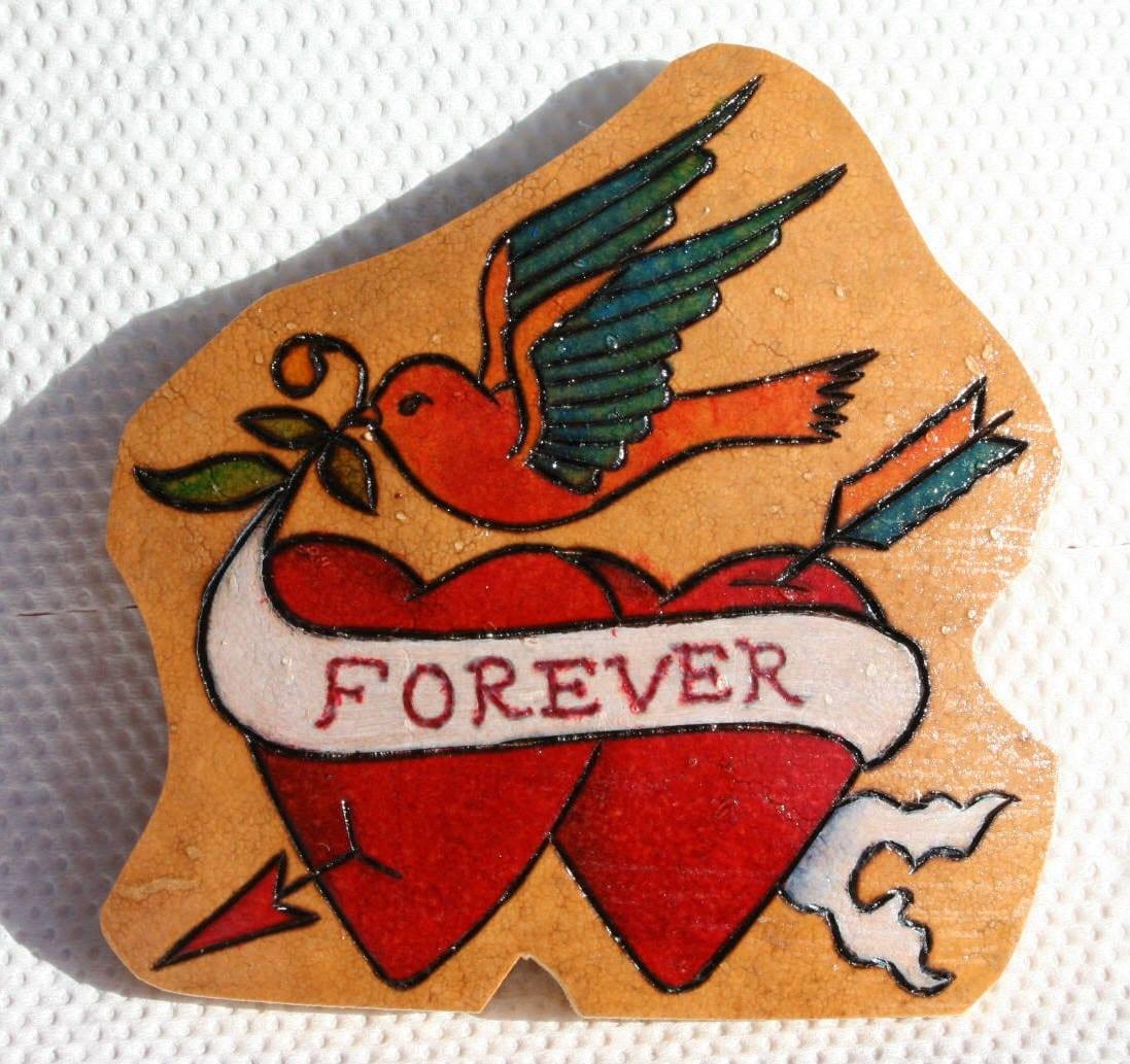 Tattoo Hearts Bluebird Gourd