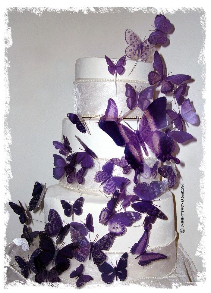 3D BUTTERFLY Purple Lavender Wedding Birthday Cake Topper 41 Multi Sized
