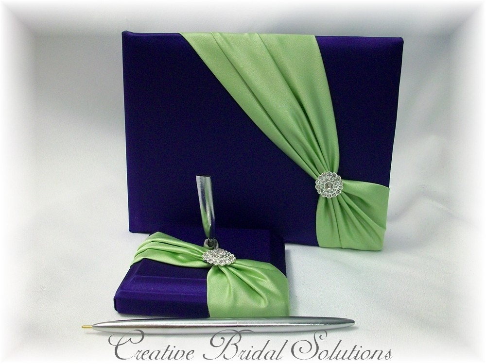 Purple with Lime Green Wedding Guest Book and Pen Set From CreativeBridal