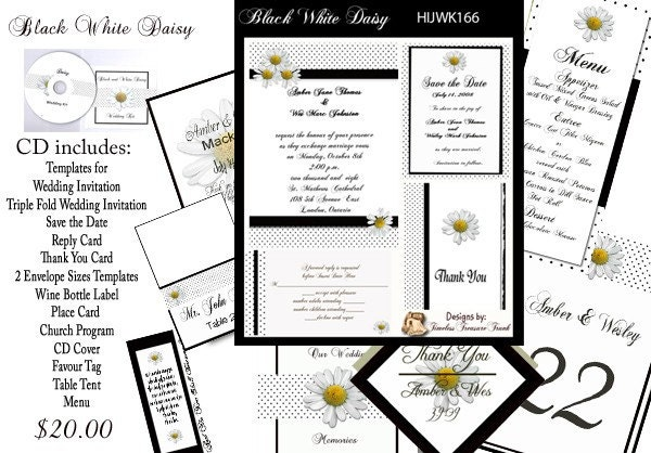 diy wedding invitation kits black and white