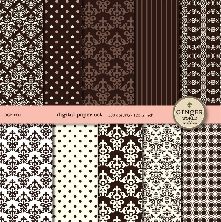 Mocha Chocolate Digital Paper pack for scrapbooking Wedding invite DG031