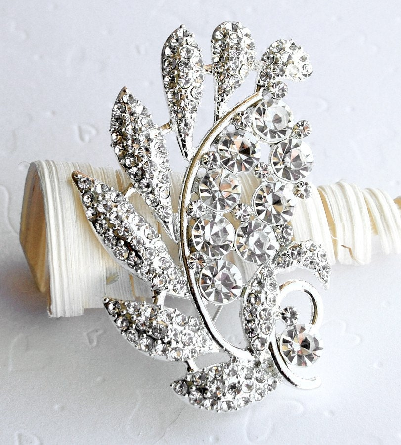 Rhinestone Brooch Component 23 4 Crystal Flower Bridal Hair Comb Shoe Clip