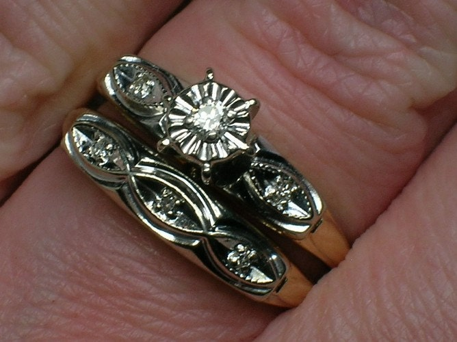 Vintage Wedding Rings Set 1950s Retro TwoTone Madness From AuldBaubles
