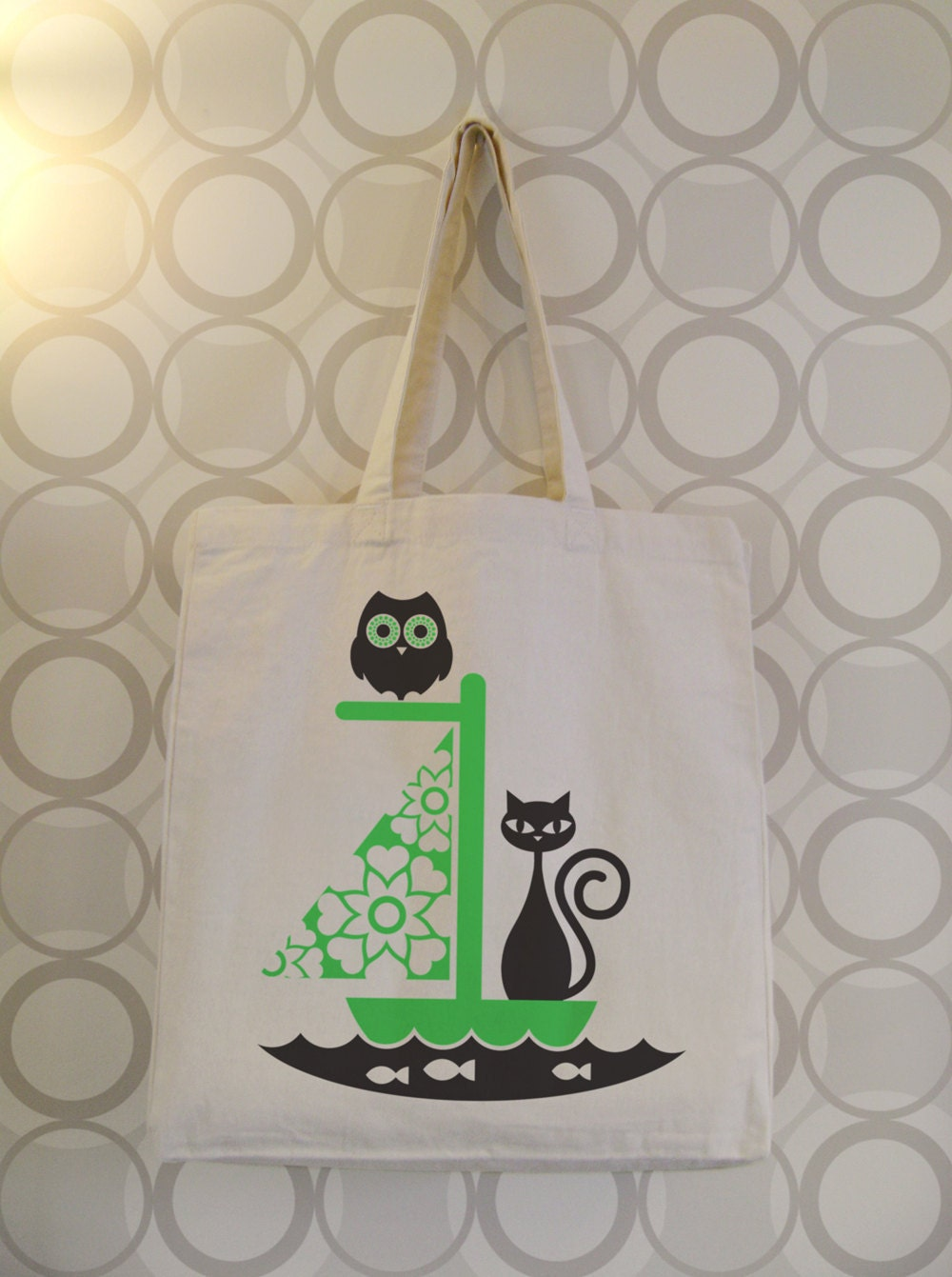 owl and the pussycat   70s folk art inspired chatty nora tote bag