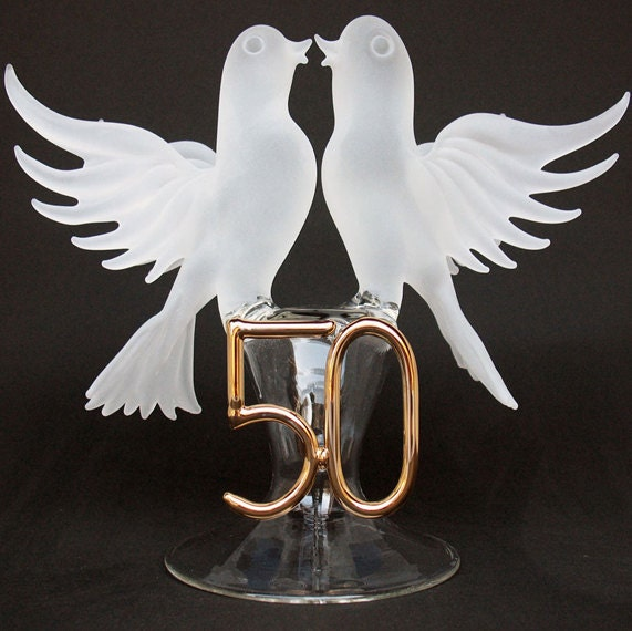 Lovebirds 50th Anniversary Wedding Cake Top Topper From ProchaskaGallery