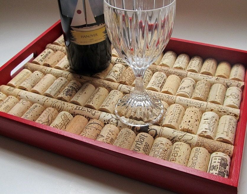 Tuscan Red Wine Cork Serving Tray From LizzieJoeDesigns