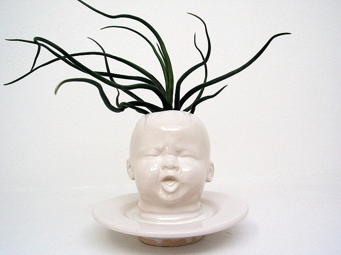 Baby Head Vase by Mud Puppy