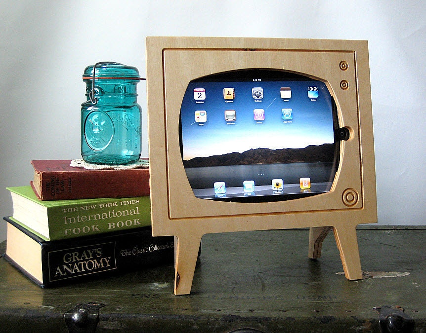 Handmade Natural Wood Retro TV Ipad Dock etsy