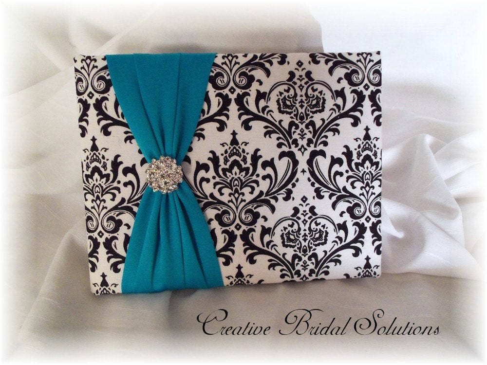 Madison Black and White Damask with Turquoise Wedding Guest Book