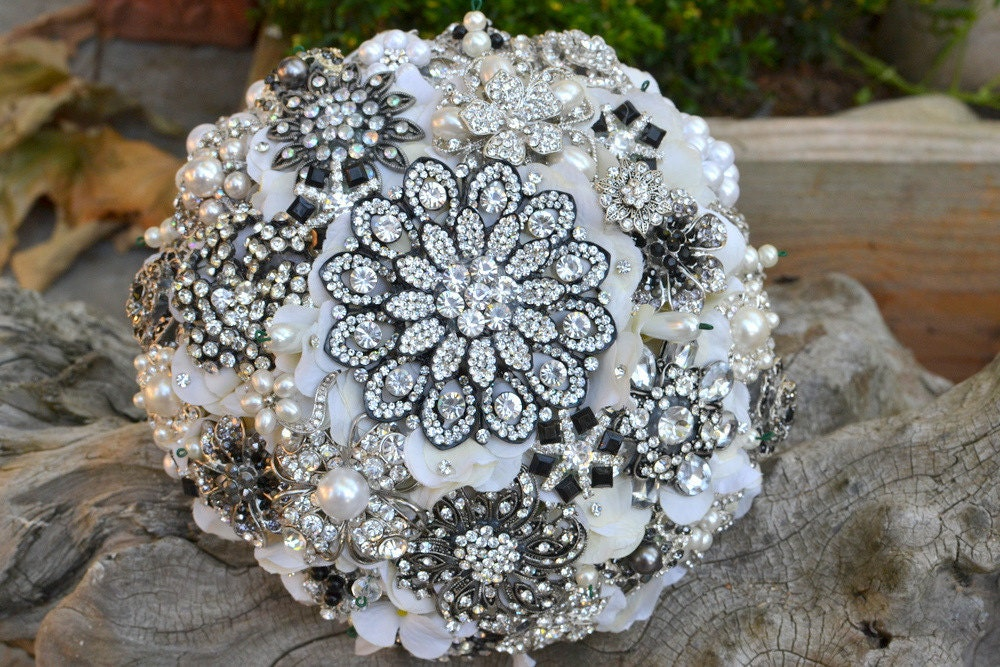 Deco bridal brooch bridal bouquetdeposit on a made to order bouquet
