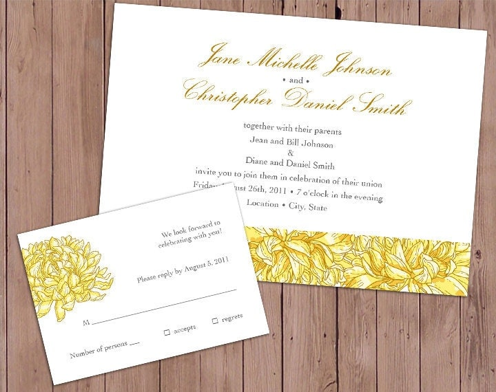 Completely customizable yellow and gray chrysanthemum themed wedding