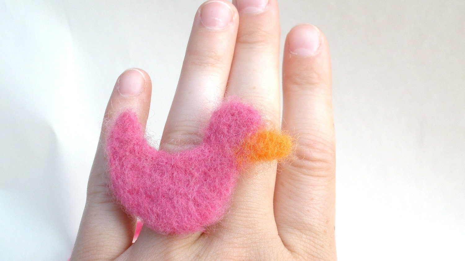 Adult small (teen) Duck Ring -Hand Felted Jewelry. From Projectsbycarm