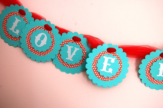 Retro Red and Aqua Love is Sweet Wedding Party Banner Photo Prop