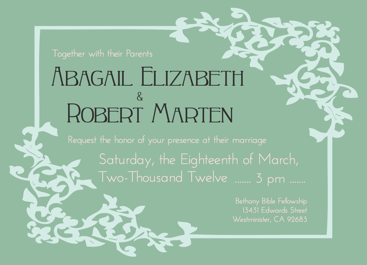 Wording Of Wedding Invitations: Traditional Wedding Invitation Wording