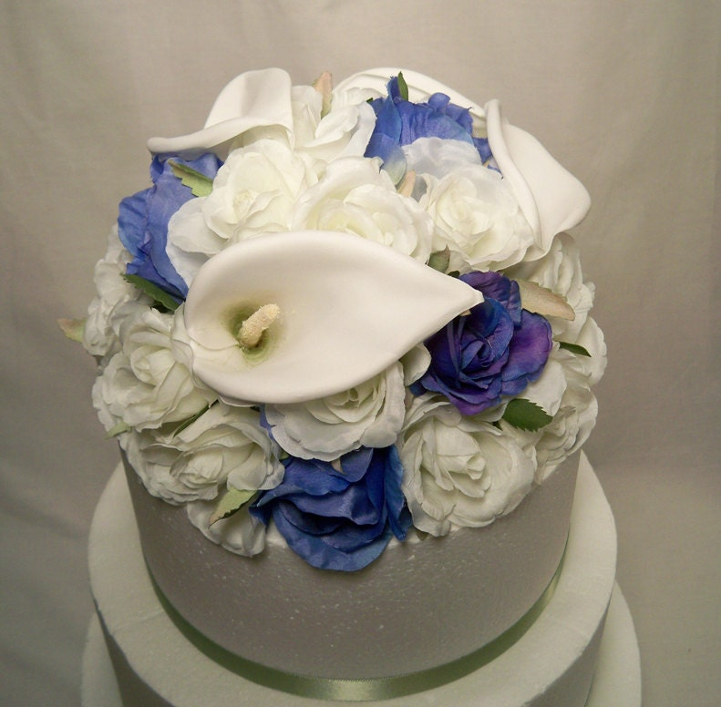 Blue Rose Calla Lily Silk Wedding Cake Topper From ItTopsTheCake