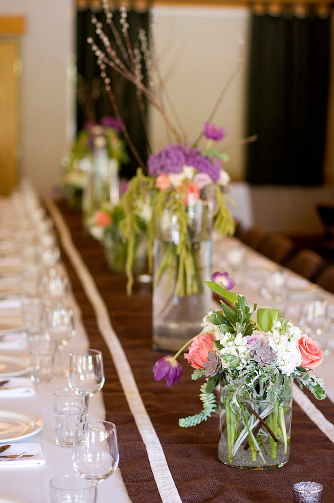 Rustic Wedding Burlap Table Runners with Ivory Velvet Trim From paperpopco