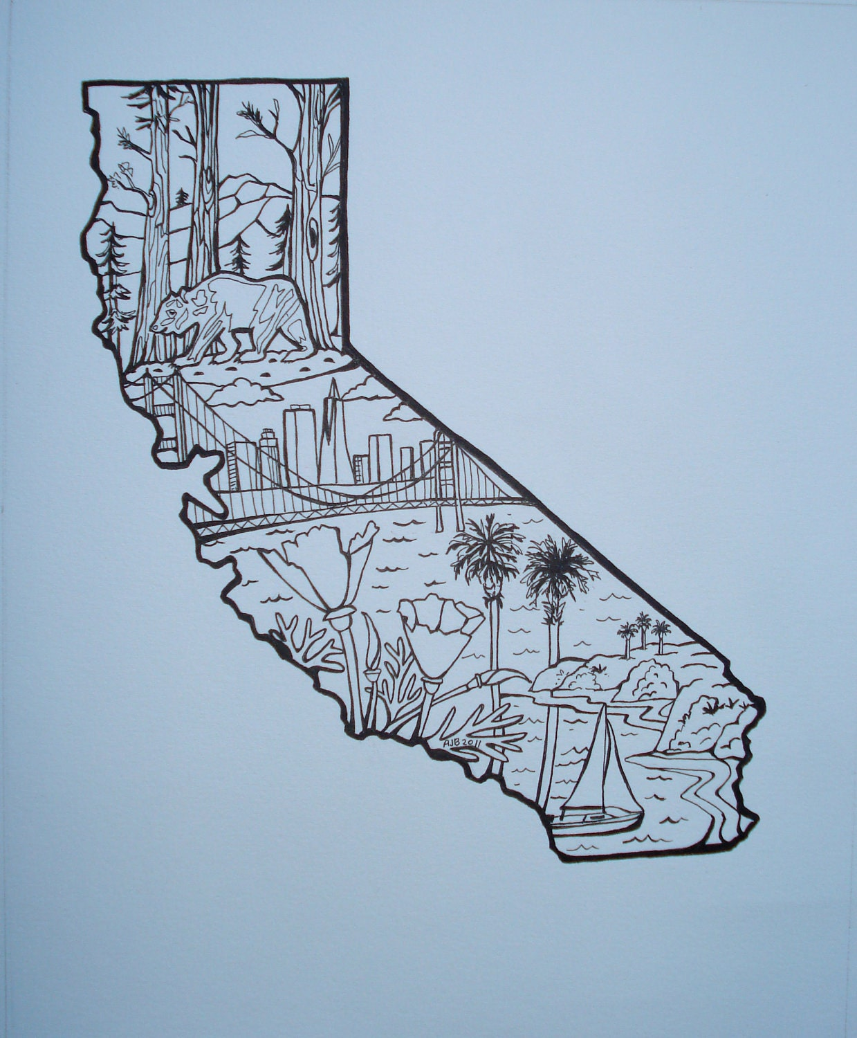 california state outline with bear