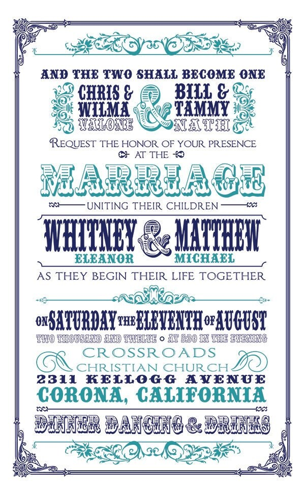 Blue Vintage Wedding Invitation Response Card and Save the Date 3 Pieces