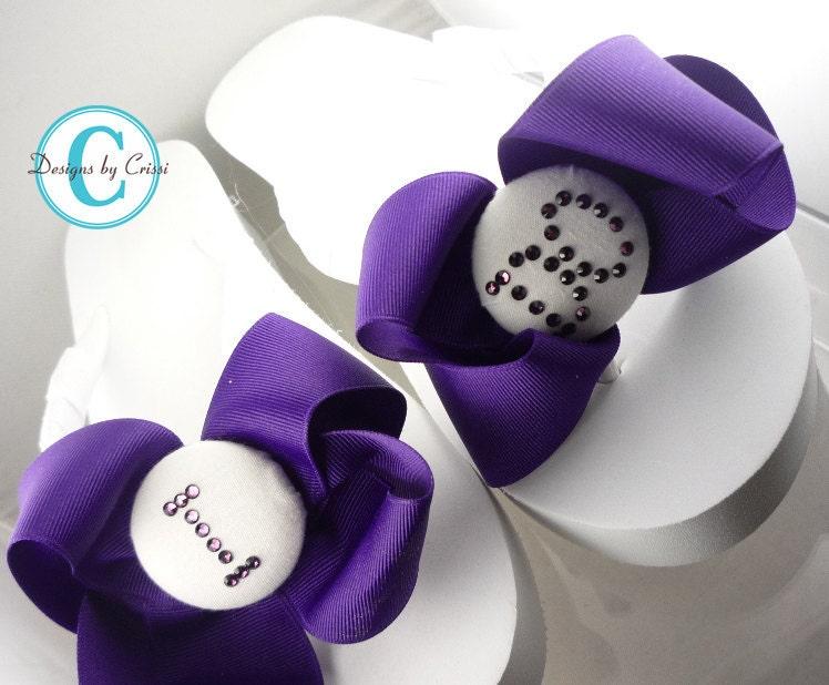 29da65df892331 I DO Bridal rhinestone wedge heel flip flops Purple White Wedding Choose Bow
