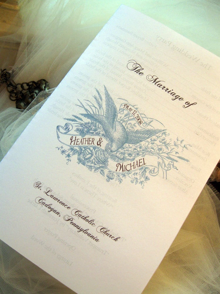 Lovebirds Wedding Program Template From DearReaderPress