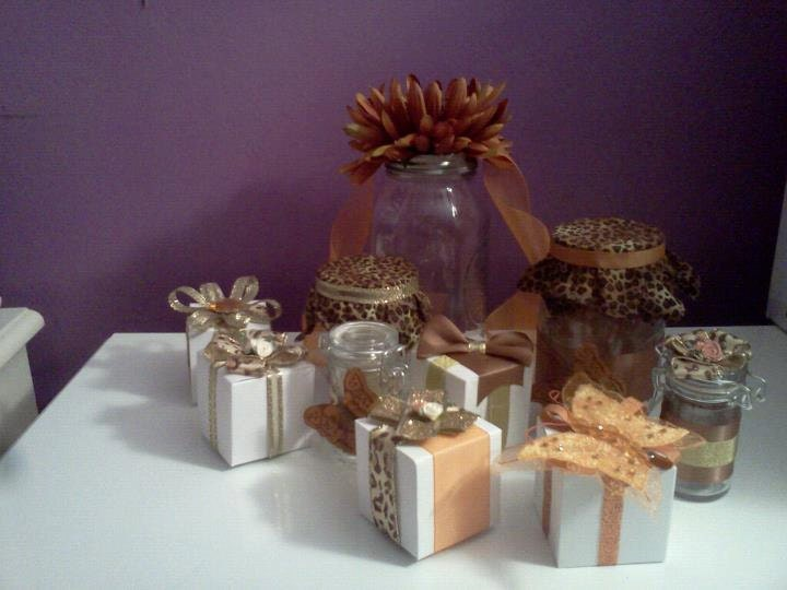 Gold Orange Favor Jars and Boxes PERFECT for Weddings Showers