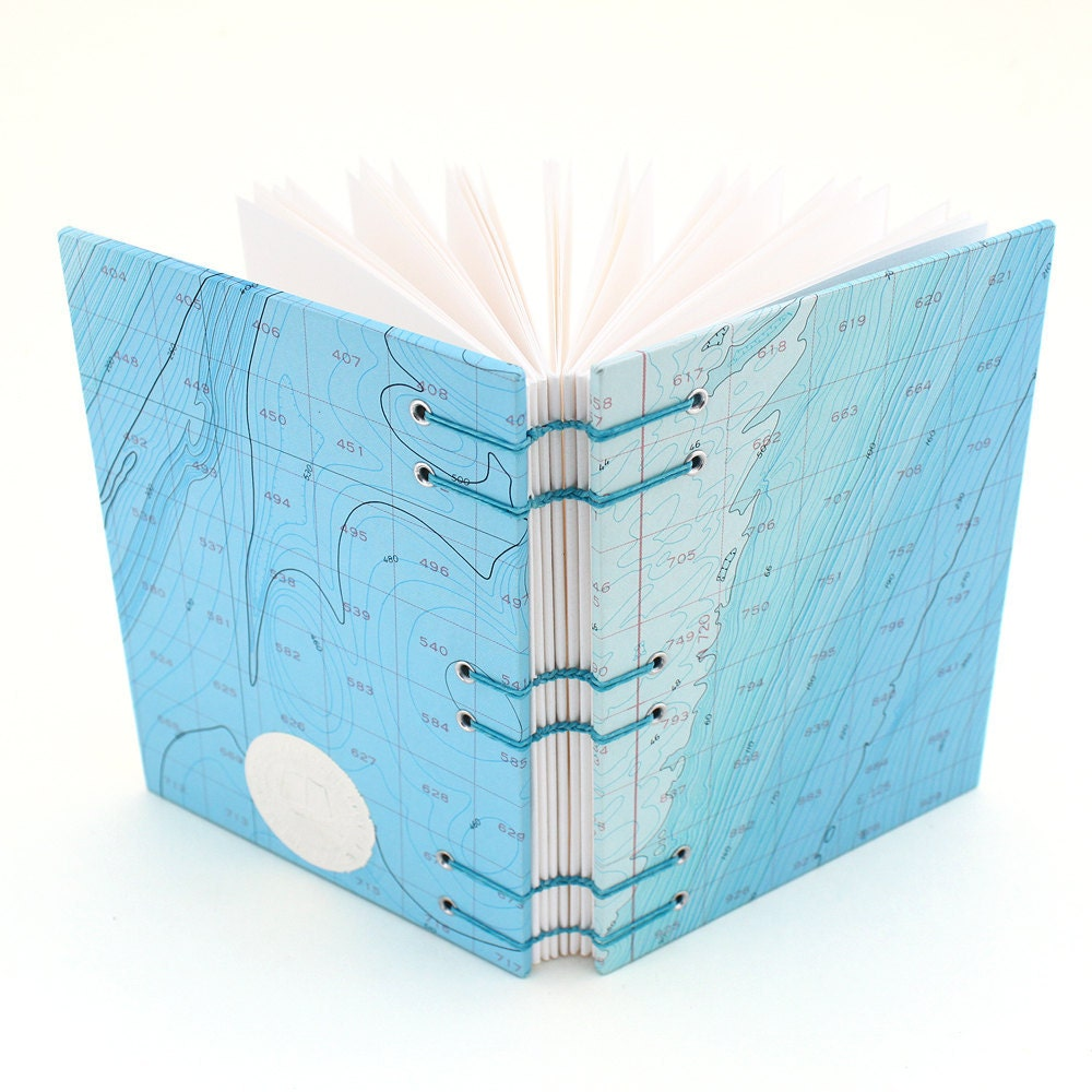 blue nautical chart journal