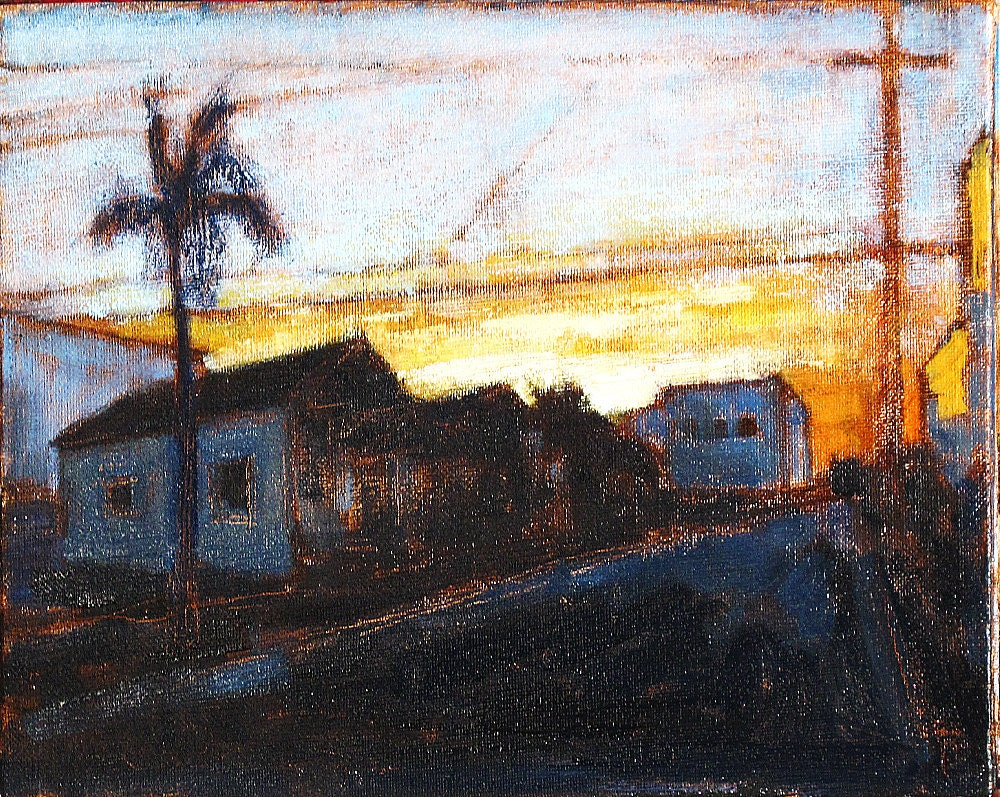 Sunrise in San Diego Original Oil Urban Landscape Painting