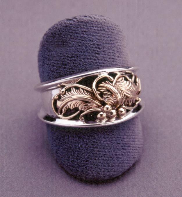 Saddle Wedding Band Ring Handmade Leaves Feathers