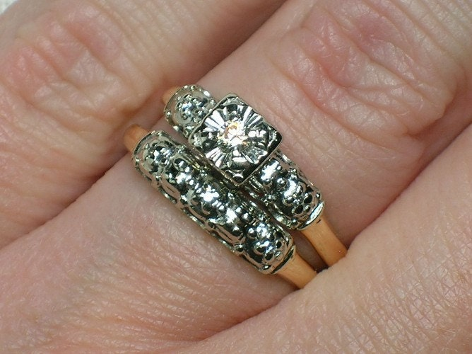 Vintage Wedding Ring Set 1950s Two Tone From AuldBaubles