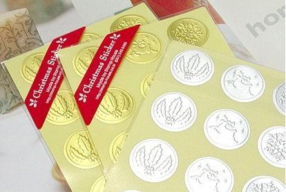 24 Christmas Sticker - Gold/silver,(D) 25mm