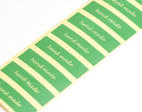 3 Green HandMade Transparent Label - 50 x 10mm