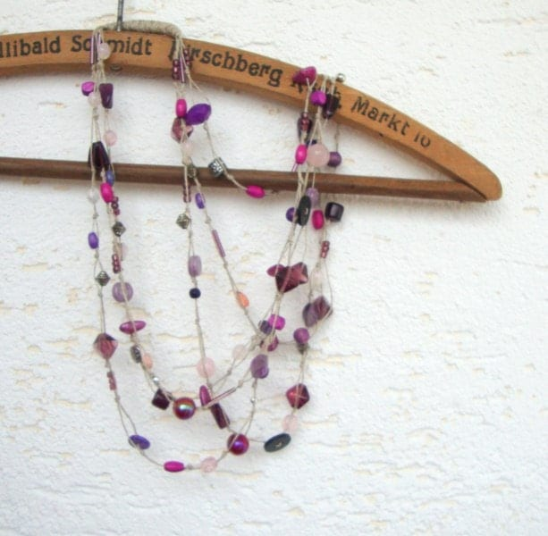 Violet linen necklace purple and pink beads OOAK multistrand necklace