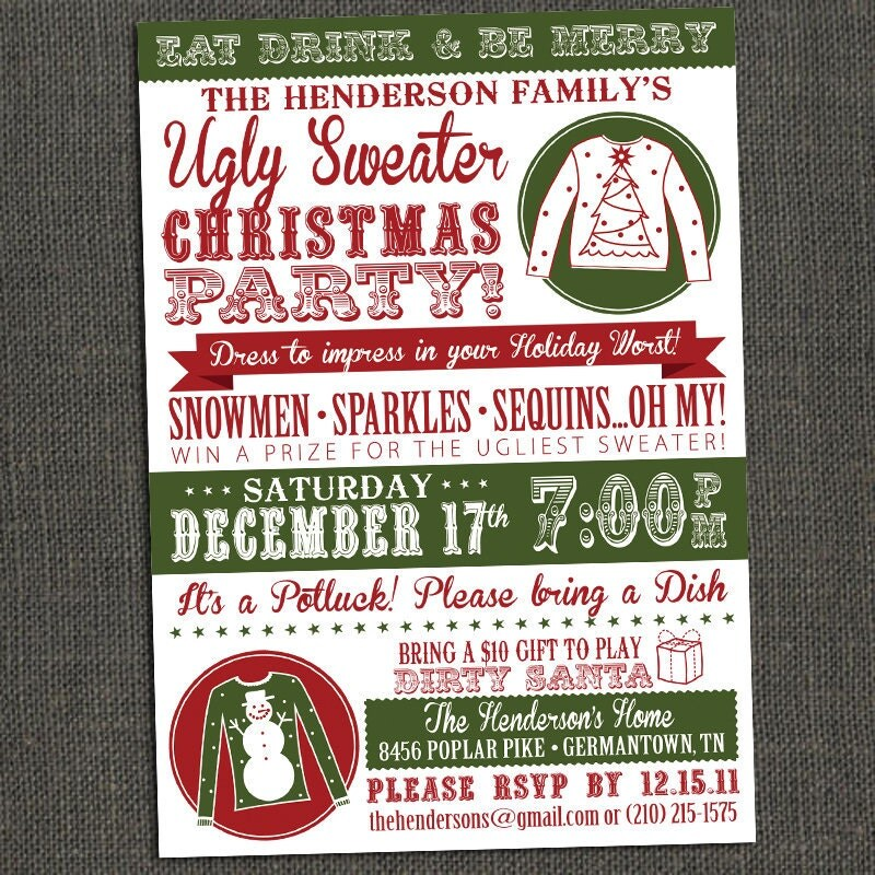 ugly sweater party invitations |, Party invitations