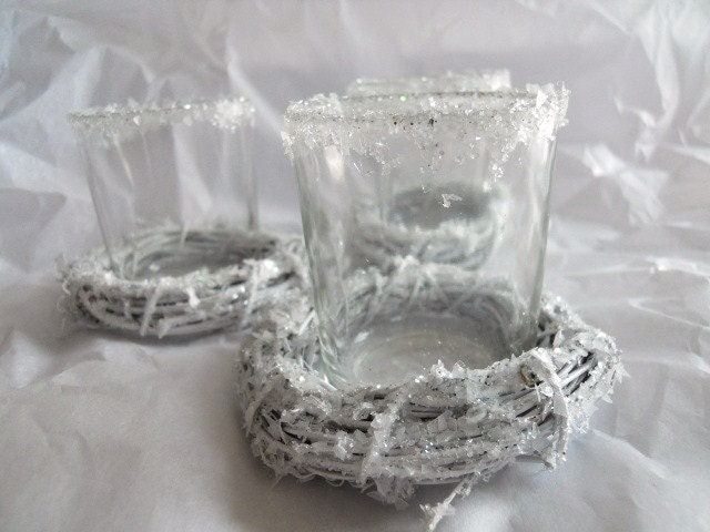 Sugar Frosted Glass Votive Candle Holders Wedding French Shabby Chic