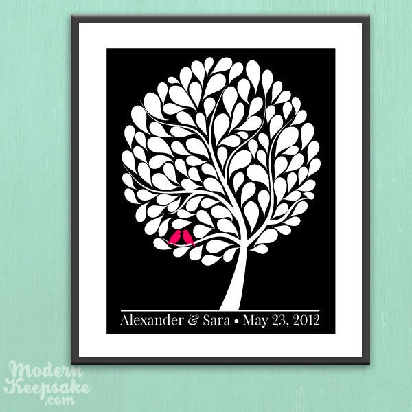 PRINTABLE Wedding Guestbook Poster PDF File Love Birds in A Bubble Tree