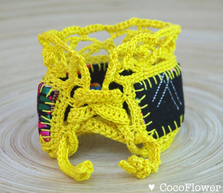 Bracelet jaune dentelle tissu japonais