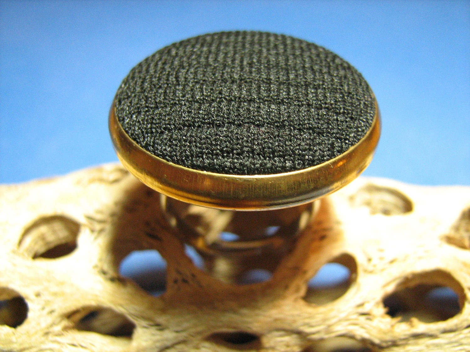 Large Vintage Black Fabric and Goldtone Button Ring