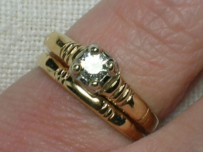 Vintage Wedding Ring Set Late Depression Era Minimalist Two Tone