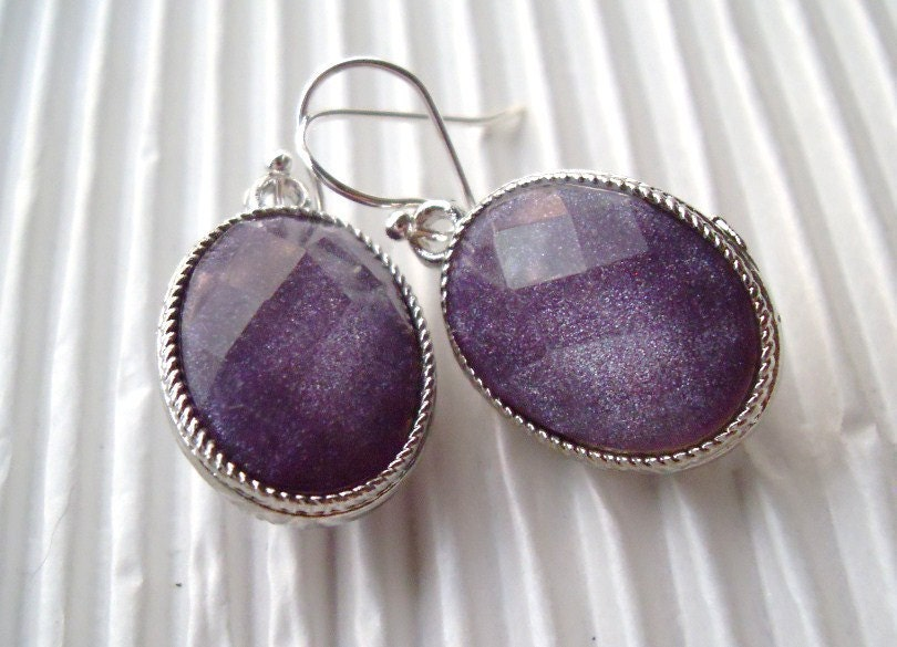 Sparkling Purple Earrings Wedding Bridal Party Bridesmaids Valentines