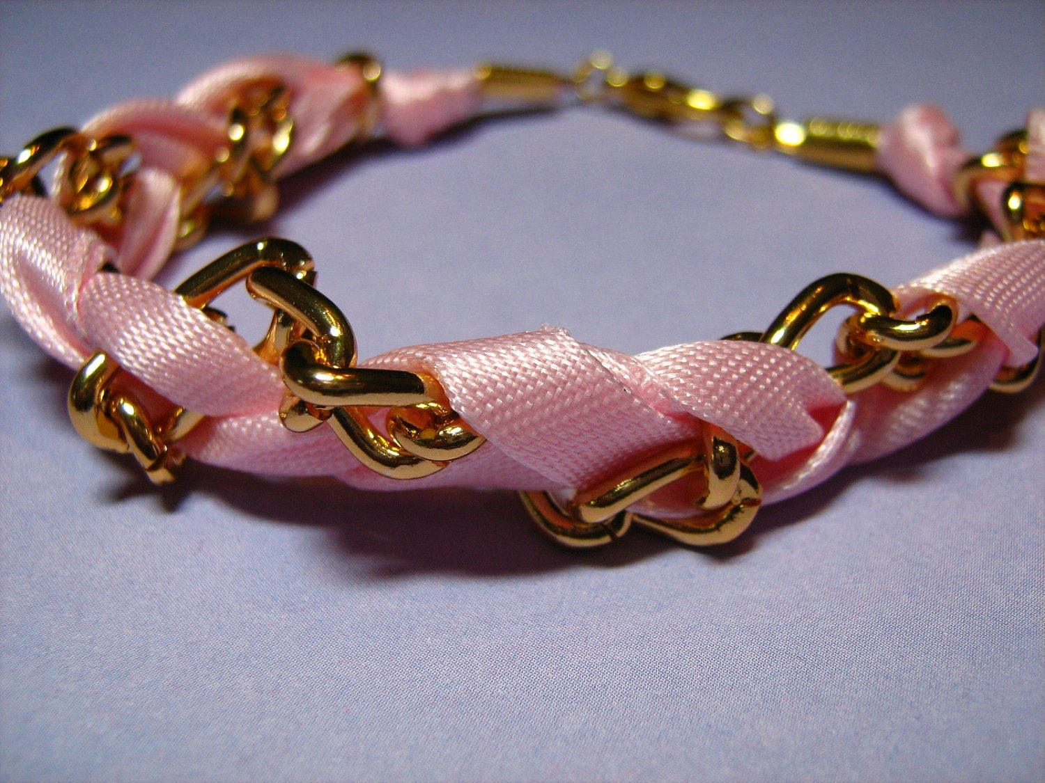 Braided Pink Satin Ribbon and Goldtone Chain Bracelet