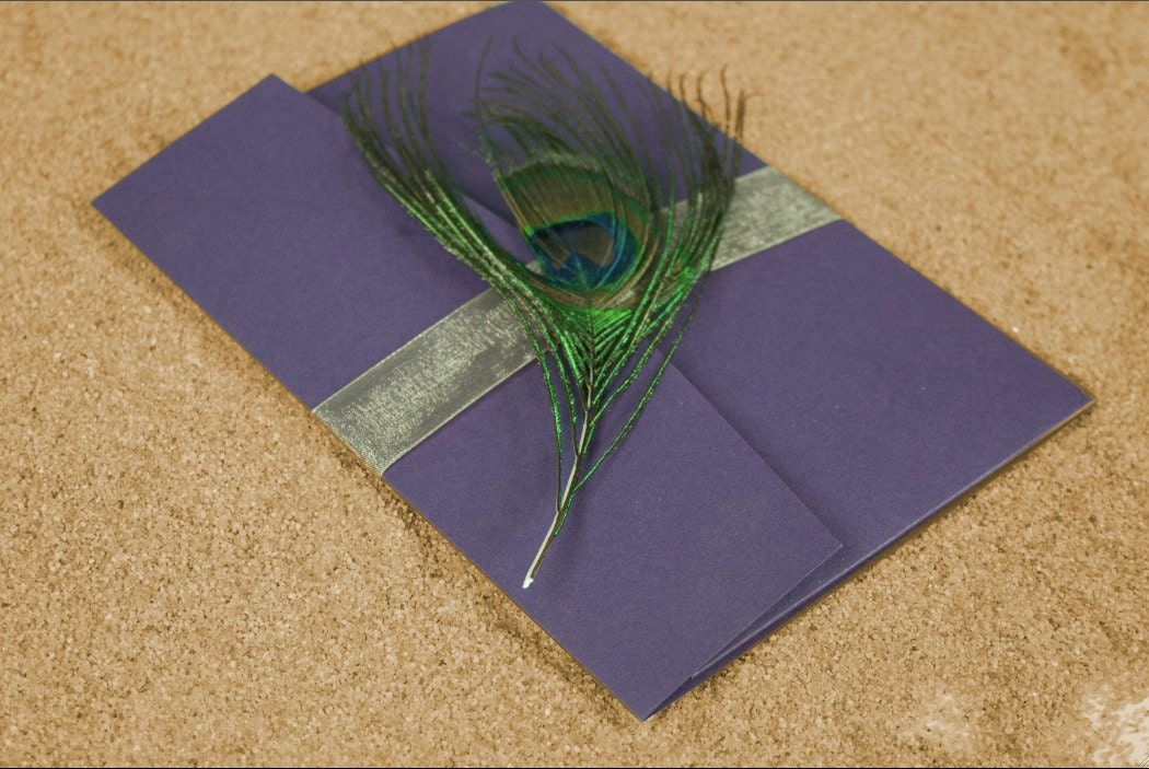Purple Peacock Trifold Wedding Invitation From alopiano