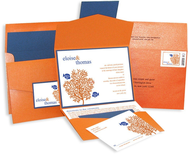 Coral and Fish Wedding Invitation Pocket Set Sample