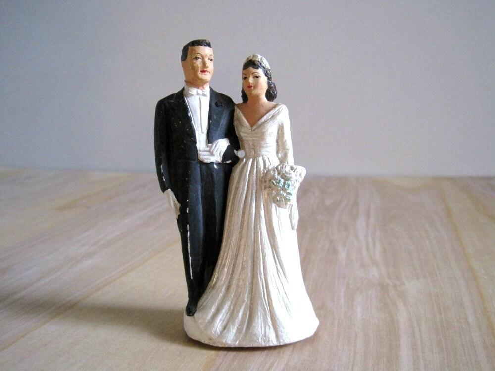 Vintage Wedding Cake Topper Bride Groom 1950 39s Chalkware