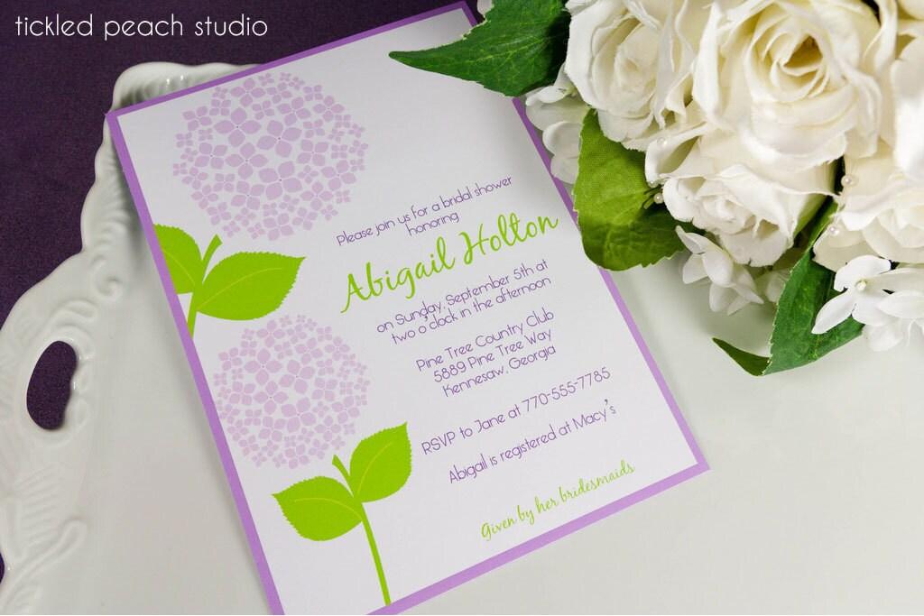 Hydrangea Bridal Shower Invitation purple blue or pink DIY PRINTABLE