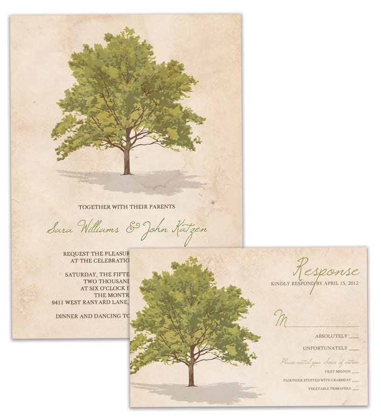 Tree Rustic Wedding Invitation and RSVP Suite Vintage Wedding Invitation and