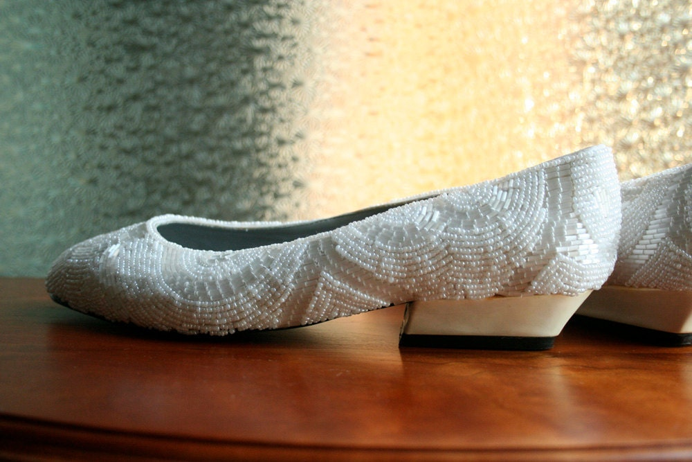 White Beaded Wedding Flats Size 8 Euro 385 From Way2Cool