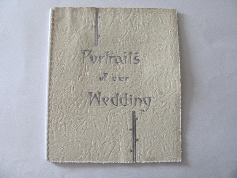Vintage white Portraits or our Wedding Photo Album Scrapbook