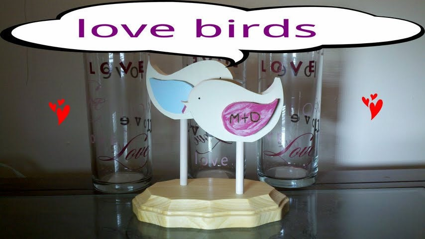 Country style personalized love birds wedding cake topper FREE SHIPPING