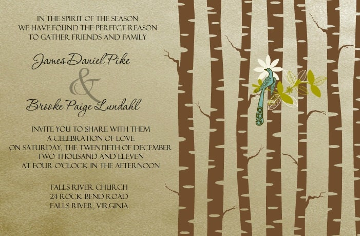 Trees and birds rustic nature earthy wedding invite Customized Handmade